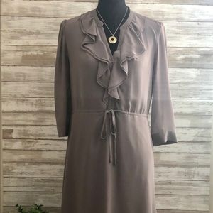 H&M Taupe dress with ruffle collar.